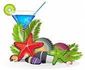 Tropical Arrangement With Blue Cocktail