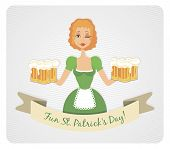 Happy St Patrick's day card with girl and beer