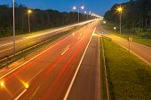 Long Exposure Photo On A Highway With Light Trails