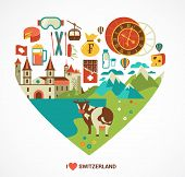 Switzerland love - heart with vector icons, travel and tourism concept illustration
