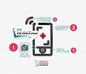 Mobile photo shooting - vector illustration of line flat concept - workflow layout, diagram, number options
