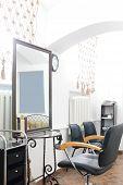 foto of beauty salon interior  - brand new interior of european beauty salon - JPG