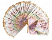image of colombian currency  - Colombian bank not bills over white background - JPG