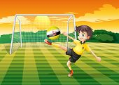 Illustration of a girl kicking the ball with the flag of Brunei