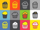 Different popcorn icons set. Design elements