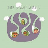 Homes in the clouds with caption home is where heart is. Vector illustration