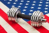 Dumbbell Weights Over Usa Flag