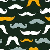 Fun silhouette mustaches seamless pattern background