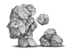 pic of cognitive  - Dementia loss and work stress concept as a group of crumpled office papers falling down shaped as a human head as a symbol for brain problem medical and health care intelligence icon - JPG