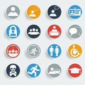 Users Icons On Gray Buttons.