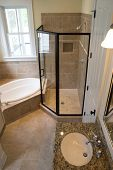 stock photo of wainscoting  - Elegant bathroom with shower - JPG