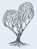 Graphic heart shaped tree sketch