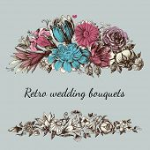 Retro wedding flower bouquets, floral garden design elements