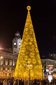Illuminated Christmas Tree On Puerta Del Sol