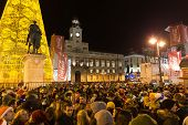The Famous Puerta Del Sol Crowded With Tourists
