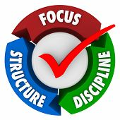 Focus Structure and Discipline words around a check mark to illustrate the needed elements to stay committed to a mission, task, job or goal and achieve success
