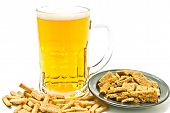 Crisps And Glass Of Beer On White
