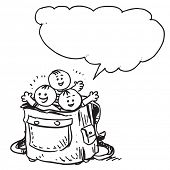 Schoolkids in schoolbag speaking