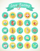 Round Love and Dating Flat Icons with Long Shadows