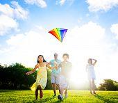 stock photo of kites  - Family playing kite outdoors - JPG