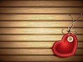 Red Paper Heart Shaped Tag on Wooden Background - EPS 10