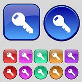 Key Sign Icon. Unlock Tool Symbol. Set Of Colored Buttons. Vector