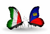 Two Butterflies With Flags On Wings As Symbol Of Relations Italy And Liechtenstein