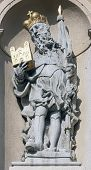 VIENNA, AUSTRIA - OCTOBER 10: Statue of Saint on baroque Jesuits church. The church was built between 1623 and 1627. in Vienna, Austria on October 10, 2014.