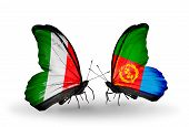 Two Butterflies With Flags On Wings As Symbol Of Relations Italy And Eritrea