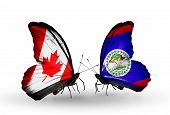 Two Butterflies With Flags On Wings As Symbol Of Relations Canada And Belize