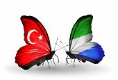 Two Butterflies With Flags On Wings As Symbol Of Relations Turkey And Sierra Leone