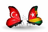 Two Butterflies With Flags On Wings As Symbol Of Relations Turkey And Togo