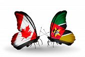 Two Butterflies With Flags On Wings As Symbol Of Relations Canada And Mozambique