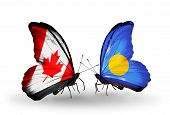 Two Butterflies With Flags On Wings As Symbol Of Relations Canada And Palau