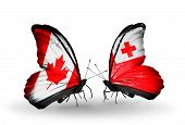 Two Butterflies With Flags On Wings As Symbol Of Relations Canada And Tonga