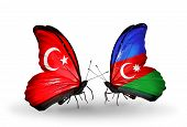 Two Butterflies With Flags On Wings As Symbol Of Relations Turkey And Azerbaijan