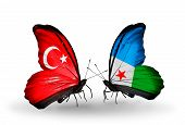 Two Butterflies With Flags On Wings As Symbol Of Relations Turkey And Djibouti