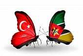 Two Butterflies With Flags On Wings As Symbol Of Relations Turkey And  Mozambique