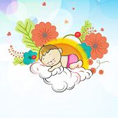 Cute little kid sleeping on cloud and thinking about spring season on flowers decorated background.