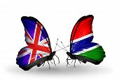 Two Butterflies With Flags On Wings As Symbol Of Relations Uk And Gambia