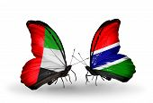 Two Butterflies With Flags On Wings As Symbol Of Relations Uae And Gambia