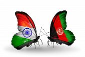 Two Butterflies With Flags On Wings As Symbol Of Relations India And Afghanistan