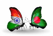 Two Butterflies With Flags On Wings As Symbol Of Relations India And Bangladesh