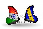 Two Butterflies With Flags On Wings As Symbol Of Relations India And Barbados