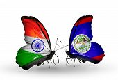 Two Butterflies With Flags On Wings As Symbol Of Relations India And Belize