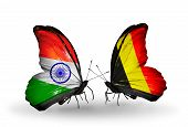 Two Butterflies With Flags On Wings As Symbol Of Relations India And Belgium