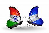 Two Butterflies With Flags On Wings As Symbol Of Relations India And Honduras
