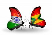 Two Butterflies With Flags On Wings As Symbol Of Relations India And Grenada
