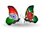 Two Butterflies With Flags On Wings As Symbol Of Relations India And Dominica