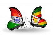 Two Butterflies With Flags On Wings As Symbol Of Relations India And Zimbabwe